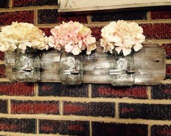 White washed mason jar holder