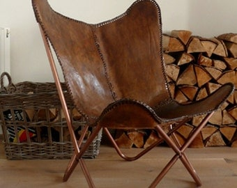 Hand made Butterfly chair leather chair rich brown
