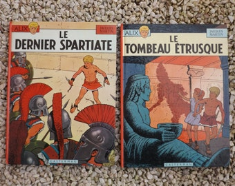 "ALIX vintage comic strip / Alix by Jacques Martin in french / ""The Tomb Etruscan"" of 1968 / 1967's ""the last Spartan"""