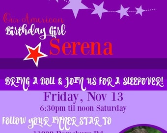 ON SALE American Girl Invite- Birthday invitation- American Girl Purple