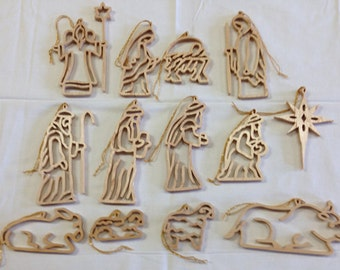 Nativity Chrismons Ornament Set – Maple