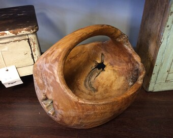 """Large Indonesian Sono Root Wood Bowl with Handle (12"""" X 11"""")"""