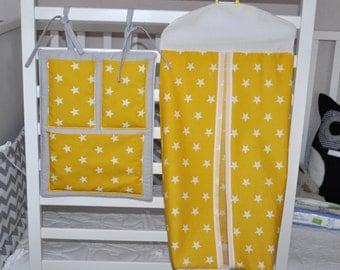 Nappy Stacker, Baby Nursery Accessories, Yellow Gold Nappy Stacker, Cot Bedding, Nappy Stacker in Golden Yellow, Handmade Baby Bedding