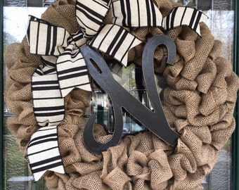 "Monogrammed Letter ""N"" Burlap Wreath"