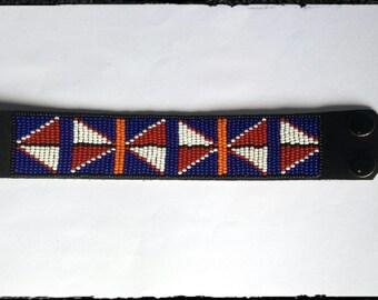 Beaded African Leather bracelet, maasai bracelet