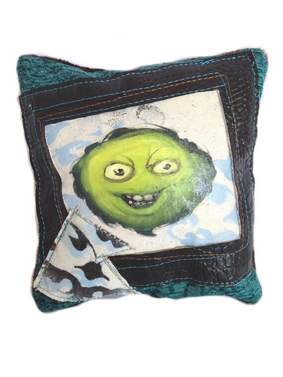 Green Man Hand Painted Pillow Pop Art