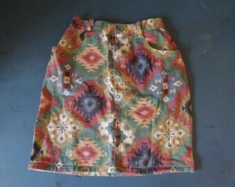 Denim Southwest Print A. Byer California Mini Skirt Size 5 *Made in USA*
