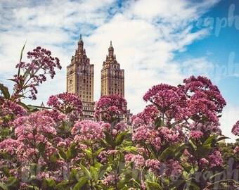 Spring Decor, Central Park Photography, New York Skyline, NYC Print, NYC Art, Floral Print, Spring Decor, Living Room Decor, Shabby Chic Art