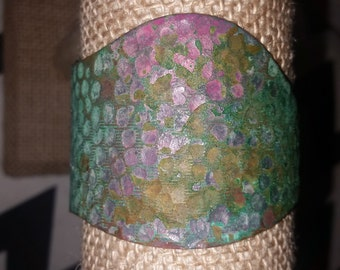 Handmade Adjustable Copper Cuff Bracelet with Purple and Turquoise Green Colors, Boho Style