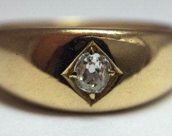 Antique Victorian 18ct Gold Old Mine Cut Diamond Ring
