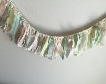Mini mini garland // nursery garland // fabric garland // fabric banner // backdrop garland // nursery decor // mint pink yellow white