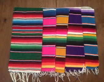 "Decorative Hand Woven Mexican Serape Saltillo Blanket - Table Runner 20"" x 40"""