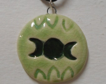 Triple Moon Leaf Pattern Triple Goddess Porcelain Pendant