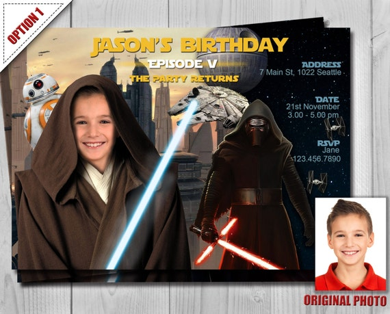 Star Wars Invitation - Star Wars Jedi Birthday Invitations - The Force Awakens Party Invites - Customizable photo - Free Thank You Card