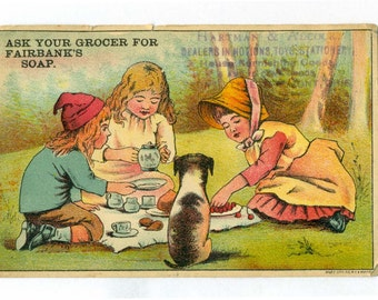 1800s Fairbanks Soap advertising trade card childrens tea party