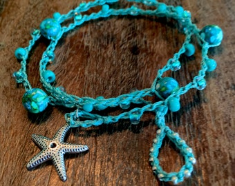 Smooth Sailing Turquioise Beaded Crochet Bracelet or Lariat Necklace