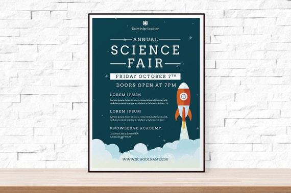 DIY Printable School Science Fair Flyer Template, Word Flyer Templates,  Event Flyer Template, Science Festival, School Template, Rocket Ship  Flyer Template Word