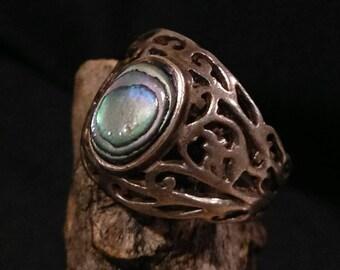 Vintage Abalone Silver Filigree Ring