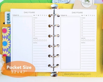 PRINTED Pocket Do1p insert - Day on one page insert - Undated daily planner insert - Pocket size planner refill - K-06