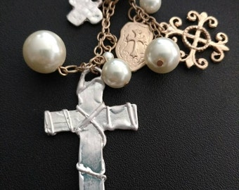 Silver Hammered Cross Pendent w/ Assorted Charms and Extra Long Gold Chain