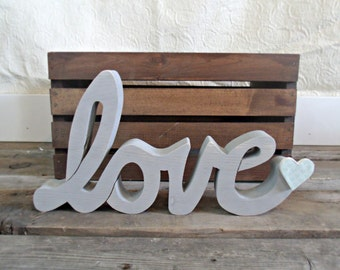 Ready to ship - Cursive love sign, Valentines decor, rustic love sign, romantic decor, love sign, LOVE, wedding decor, wedding gift
