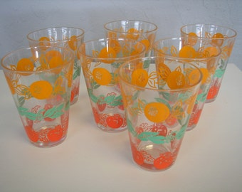 Set of 7 stenciled mid century beverage glasses