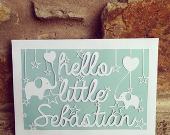 Hello little ... New Baby Papercut Card