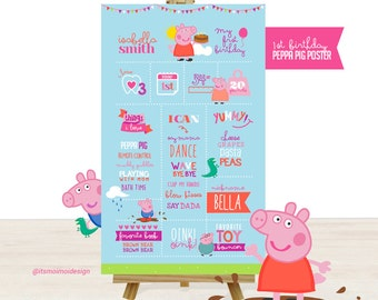 First Birthday Poster of Favorite Things Printable - Peppa Pig Inspired