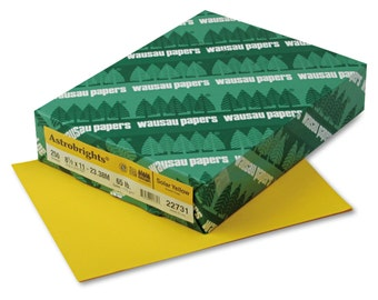 Astrobrights 22731 65 Lb CARD STOCK * Solar YELLOW * Letter * 250 Sheet Pack