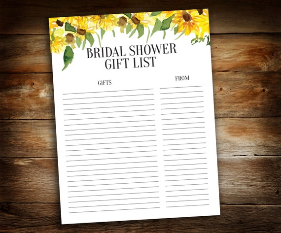 Bridal Shower Gift ListList of Received GiftsWedding Gift List ...