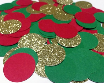 """250 pcs Christmas Confetti (1"""") Red, Green and Gold Glitter Party Decor, Table Decor. Christmas Party Decoration"""