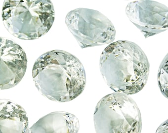 Wedding Table Scatters CRYSTAL CLEAR Acrylic Diamonds - 250 pieces, 10mm / 4 carat - Confetti Decor Wedding Party Centerpiece (TDK-W1005)