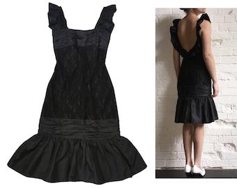 Black Lace Taffeta Frill Lowcut Back Evening Dress