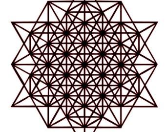 64 Tetrahedron Grid mandala Reusable Plastic stencil