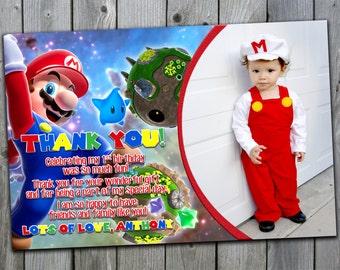 Mario Thank You Card, Mario Birthday Thank You Card