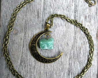 Antique Bronze La Luna Crystal Necklace-Crystal Pendant-Free US Shipping