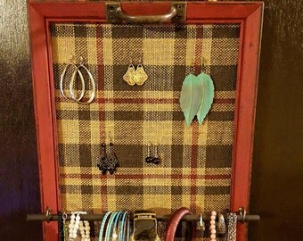 Distressed frame jewelry organizer with bracelet/ring bar, Jewelry holder, burlap earring holder, frame jewelry holder, jewelry display