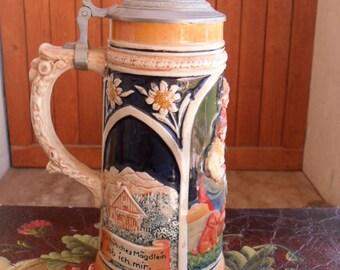 German Stein, Beer Stein, 1 Liter Stein, Vintage Stein