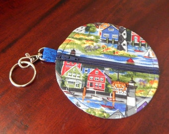 Lighthouses on small zip purse for keyring