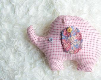 Elephant plush toy, elephant soft toy, pink and floral,  baby stuffed toys, plushie, softie, elephant