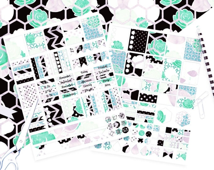 DIGITAL STICKER Sheets Black White Mint Lavender Metallic Stripe Floral Stickers Roses Printable Planner Stickers Erin Condren Sticker Sheet