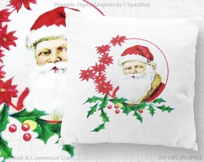 ANTIQUE SANTA Clipart Commercial Use Clipart Santa Claus Christmas Clipart Santa Fabric Transfer Image Santa Frame Christmas Graphic Jpg/Png