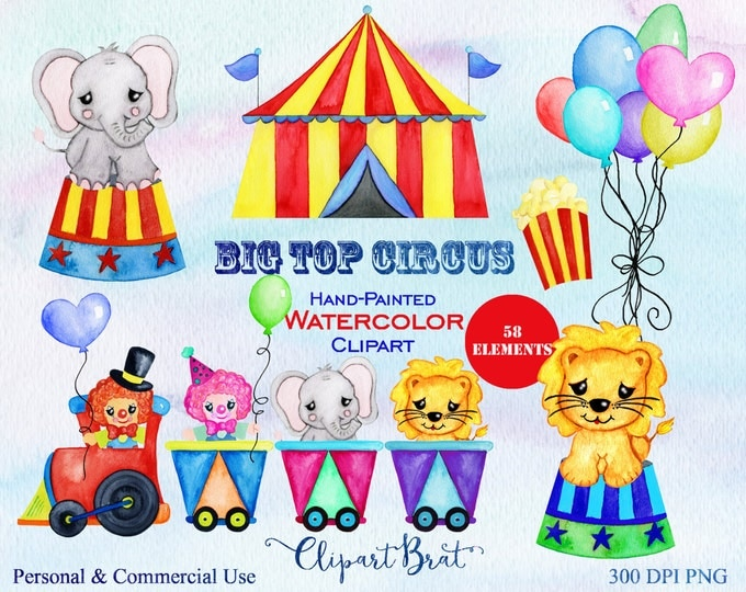 CIRCUS Clipart Commercial Use Clipart Watercolor Circus Train Animals Balloons Clown Hand-Painted Circus Clipart & Watercolor Backgrounds