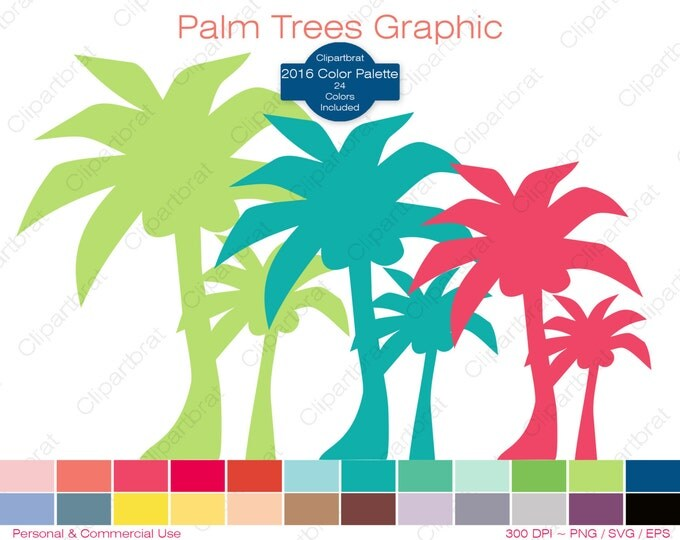 PALM TREE Clipart Commercial Use Clipart Tropical Beach Graphic 2016 Color Palette 24 Colors Palm Tree Digital Sticker Vector Png Eps Svg