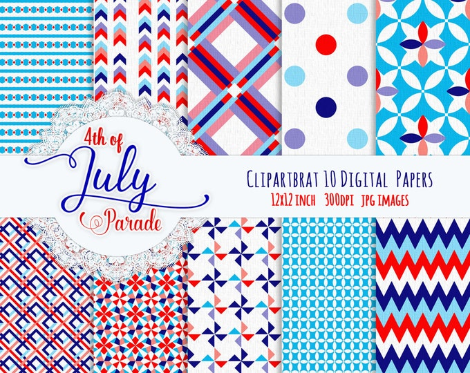 4th of July RED WHITE & BLUE Digital Paper Pack Commercial Use Digital Backgrounds America Digital Paper Chevron Dot Arrows Digital Paper