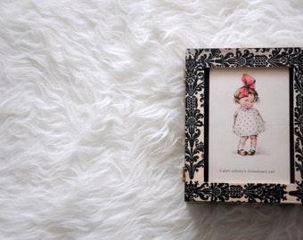 Wood box decoupage / Fleur de lis pattern & photo frame / Romantic photo frame / Home decoration / Storage box frame / Wooden photo frame