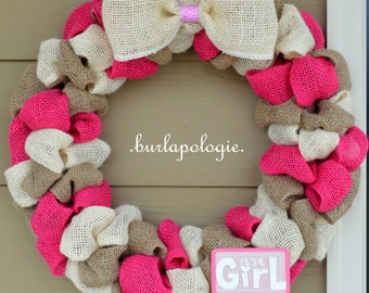 It's A GIRL Burlap Wreath, Baby Shower Wreath, Pink Nursery Wreath, Baby Wreath, 15 - 16 Inches.