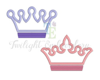 Set of 2 Crown Applique Machine Embroidery Designs, Machine Embroidery Designs 0023