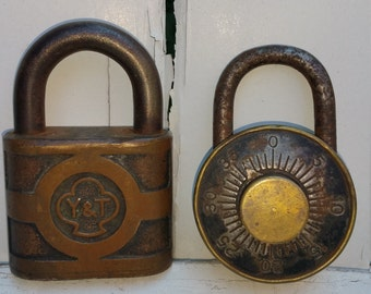 Industrial Vintage Yale and Dudley Locks - Set of 2