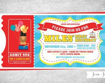 Carnival • Big Top • TICKET • Birthday Party Invitation